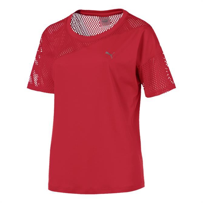 Puma Women's A.C.E Mesh Blocked T-Shirt- Ribbon Red