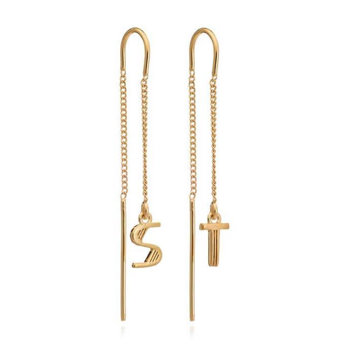 Rachel Jackson London Gold Initial Drop Earrings