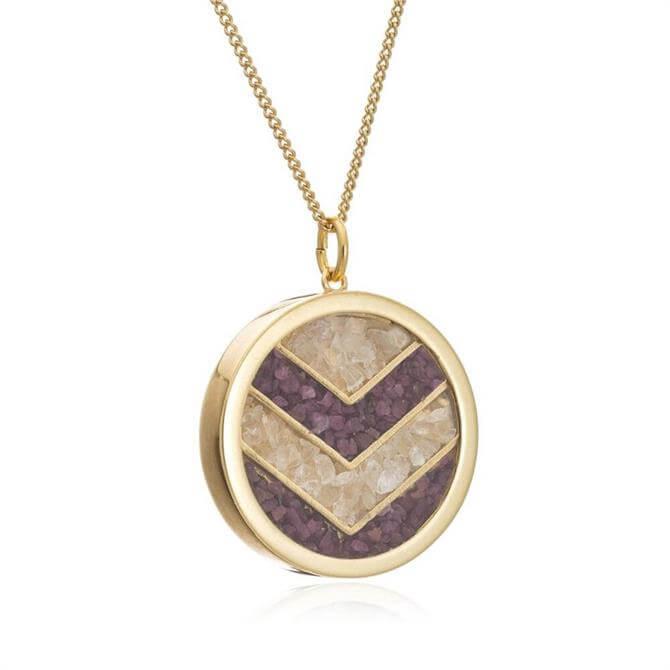 Rachel Jackson London Ruby Chevron Gold Plated Amulet Necklace