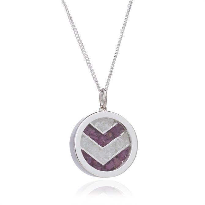 Rachel Jackson London Ruby Chevron Silver Plated Amulet Necklace