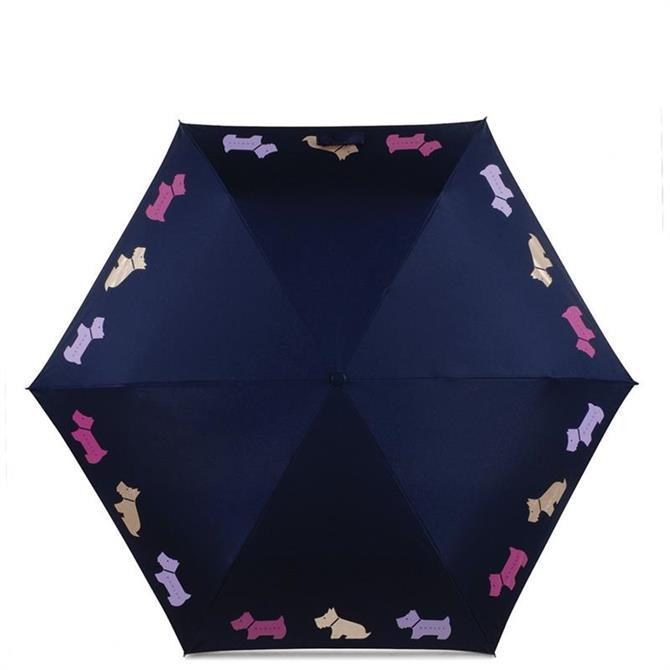 Radley Multi Dog Ink Blue Mini Telescope Umbrella