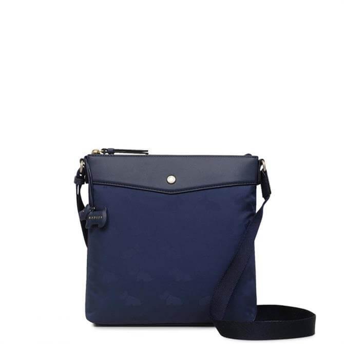 Radley Jacquard Ink Blue Medium Zip Top Cross Body Bag