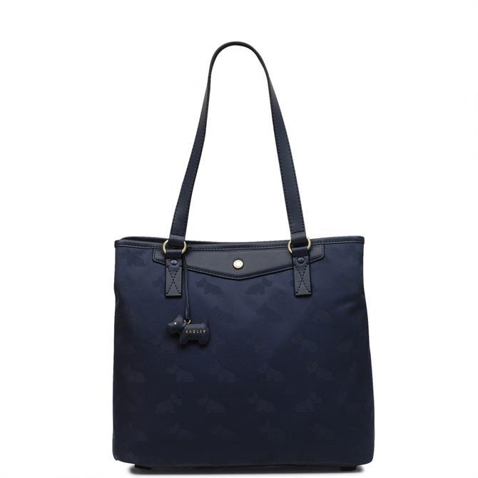 Radley Jacquard Ink Blue Large Zip Top Tote Bag