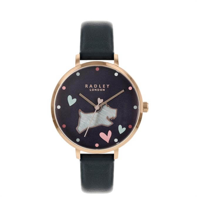 Radley Pearl Dog Watch with Ink Blue Leather Strap