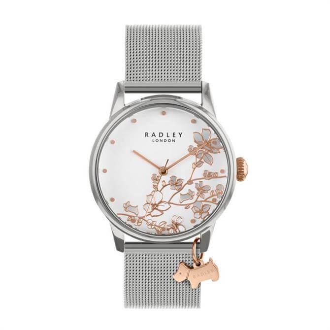 Radley Silver Linear Flower Watch