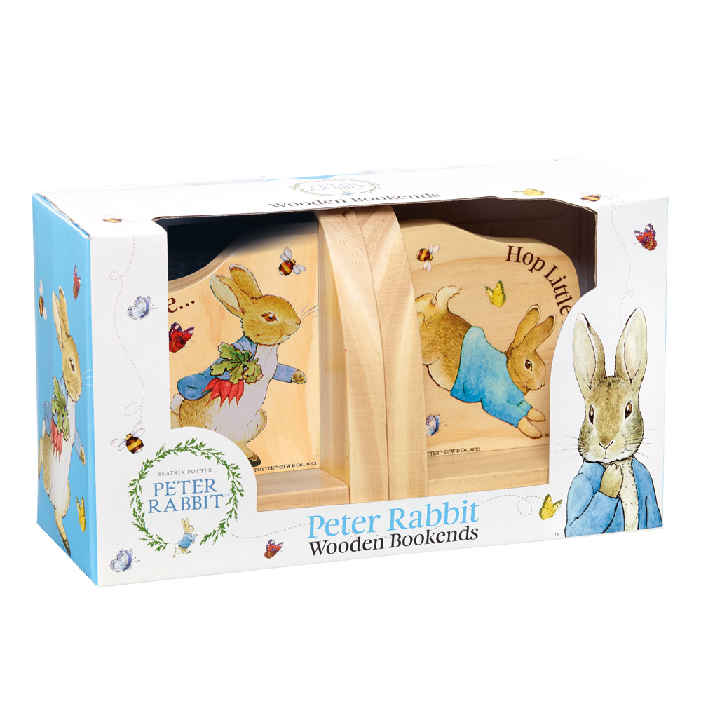 An image of Peter Rabbit Wooden Book Ends
