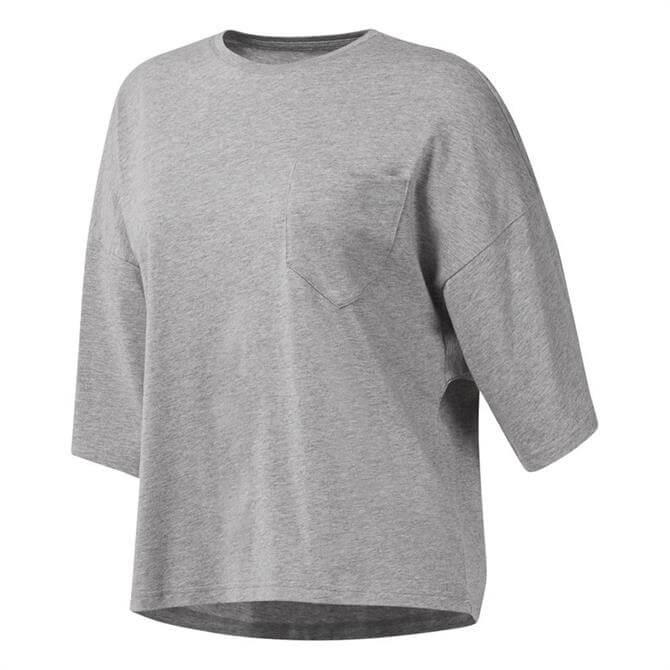 Reebok Women's Training Supply Pocket T-Shirt- Medium Grey Heather