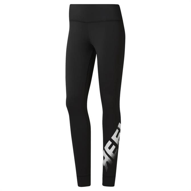 Reebok Women's Cardio Lux Bold Fitness Tights - Black / White