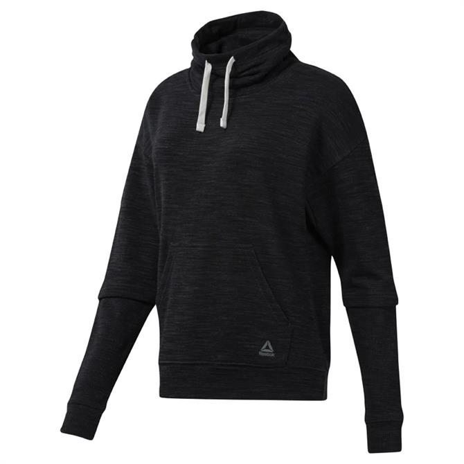 Reebok Women's Training Essentials Marble Cowl Neck Hoodie - Black