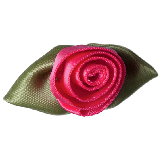 An image of Groves Rose Ribbon With Green Leaves - LARGE, SHOCKING PINK