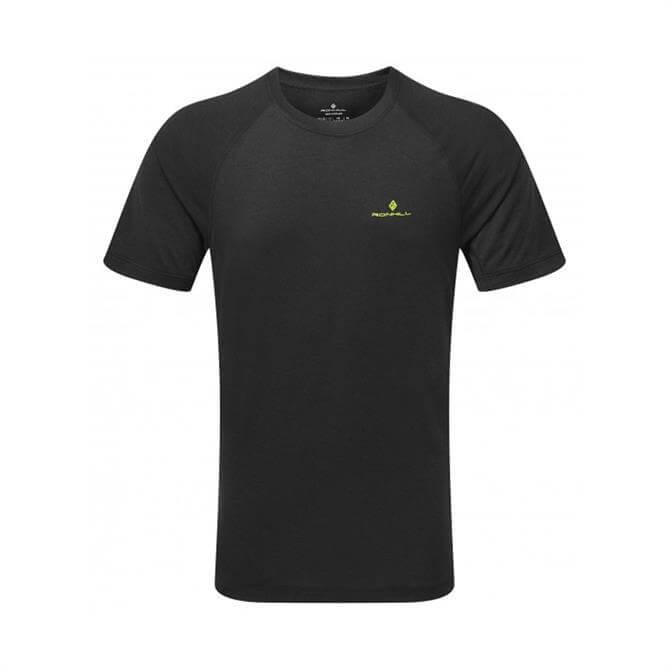 Ronhill Men's Momentum Short Sleeve T-Shirt- Black/Acid