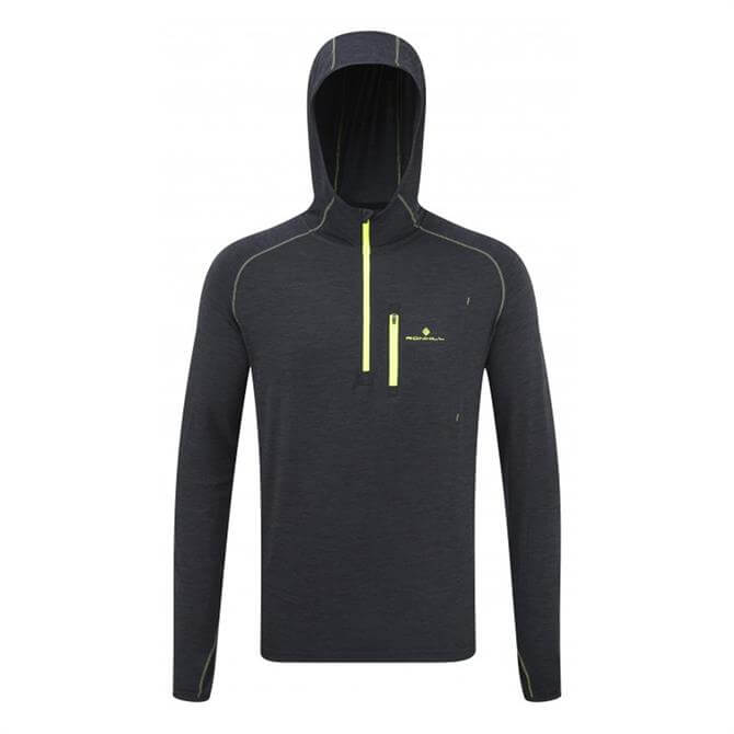 Ronhill Men's Momentum Workout Hoodie- Charcoal Fly Yellow