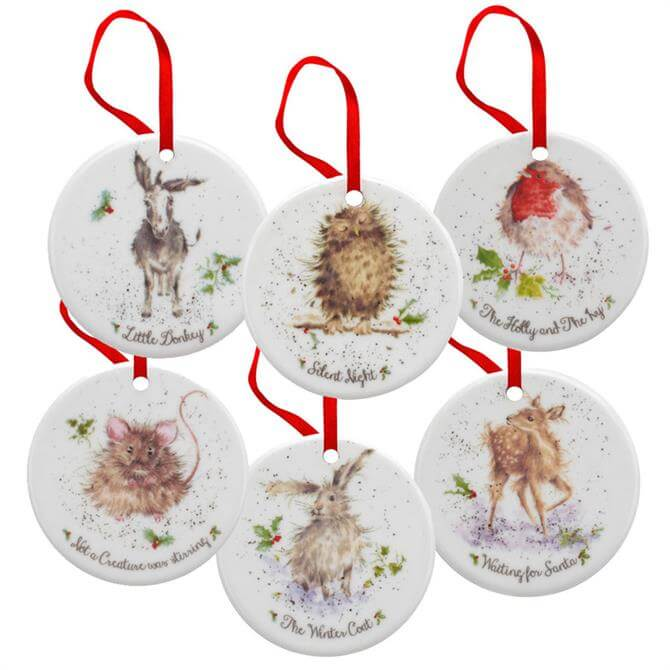 Royal Worcester Wrendale Set Of 6 China Christmas Decorations