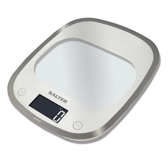 Salter Curve Glass Electronic Kitchen Scales - White