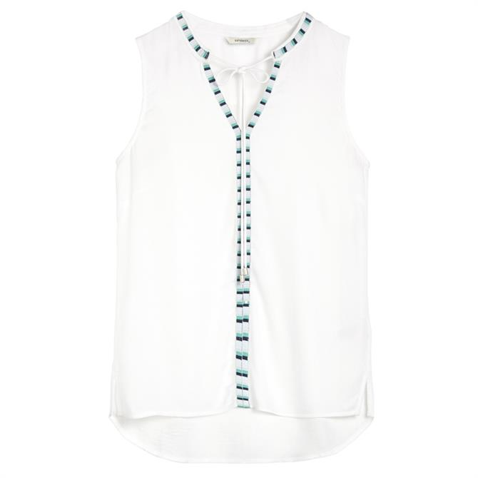 Sandwich Embroidered Striped Tape Sleeveless Top