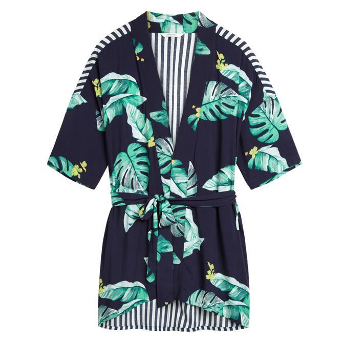 Sandwich Banana Leaf Print Kimono