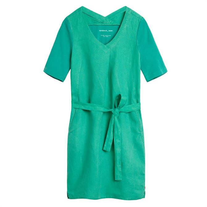 Sandwich Belted Linen Dress