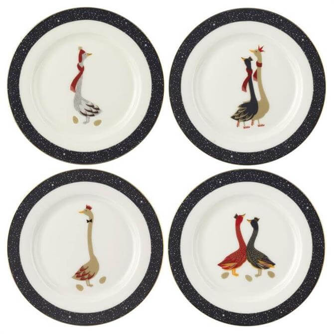 Sara Miller Geese Christmas Collection Cake Plates: Set Of 4