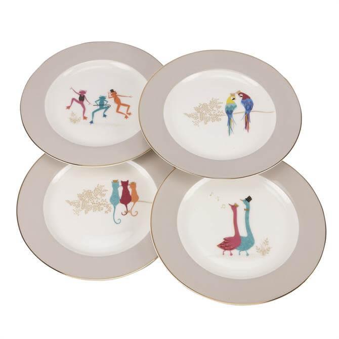 Sara Miller London Piccadilly Set of 4 Cake Plates