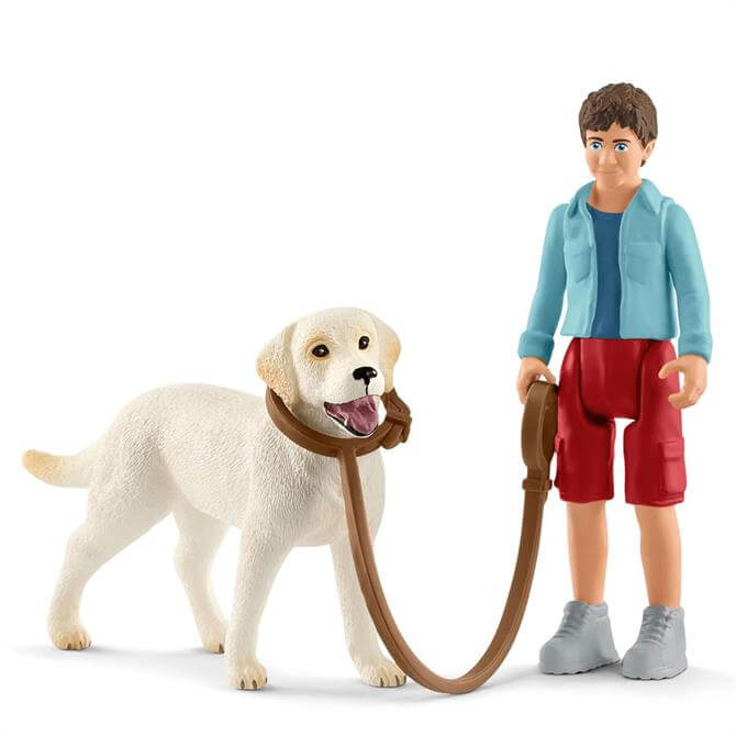 Schleich Walking with Labrador Retriever Dog