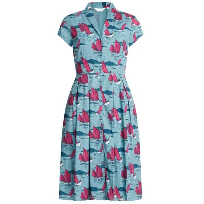 Seasalt Brenda Boat Print Fit and Flare Dress