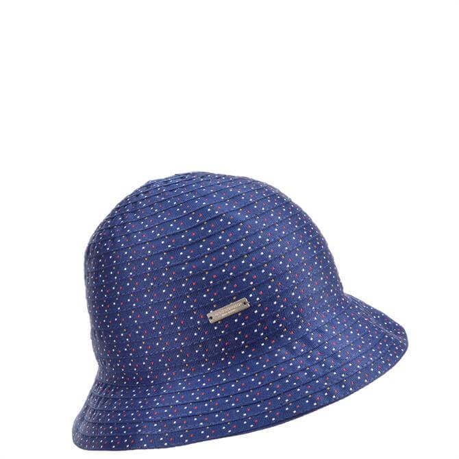 Seeberger Blue Cloche Hat in Striped Ribbon