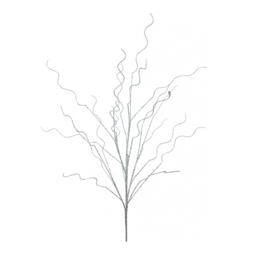 An image of Floral Silk Glittered Twig - 105CM, SILVER