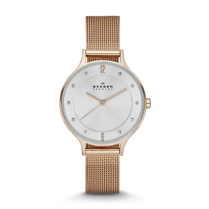 Skagen Anita Rose Gold Tone Steel-Mesh Watch