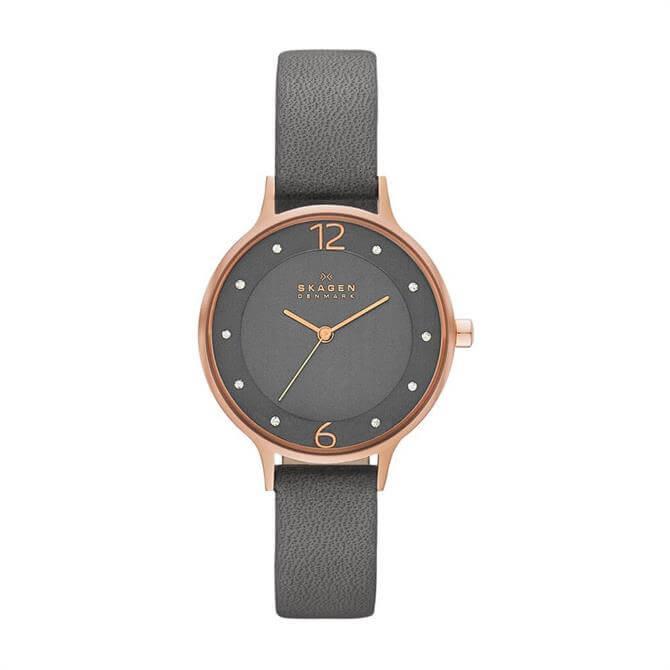 Skagen Anita Grey Leather Watch