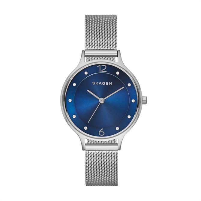 Skagen Anita Blue Dial Steel Mesh Watch