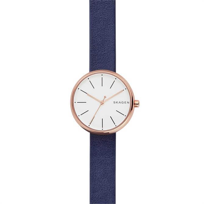 Skagen Signatur Blue Leather Watch