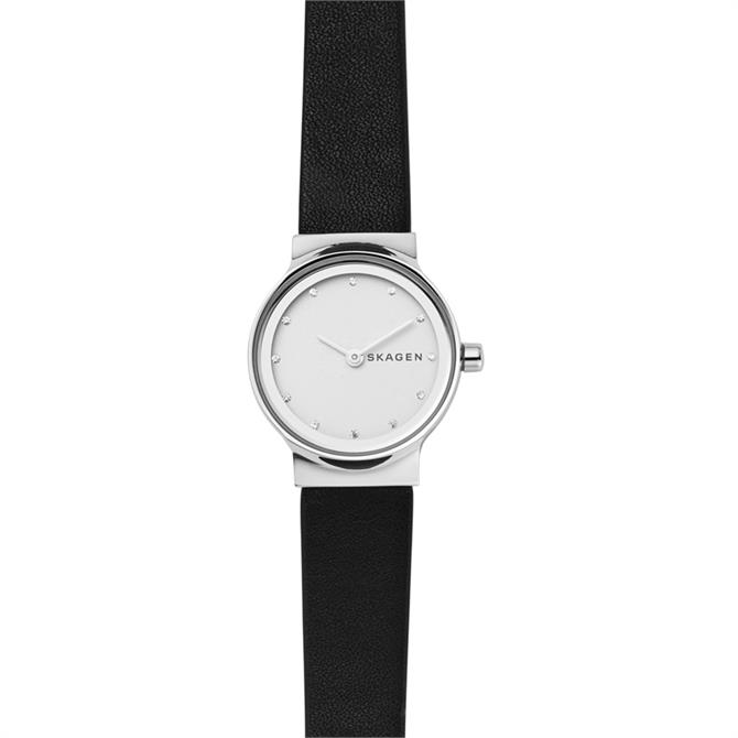 Skagen Freja Black Leather Watch 26mm