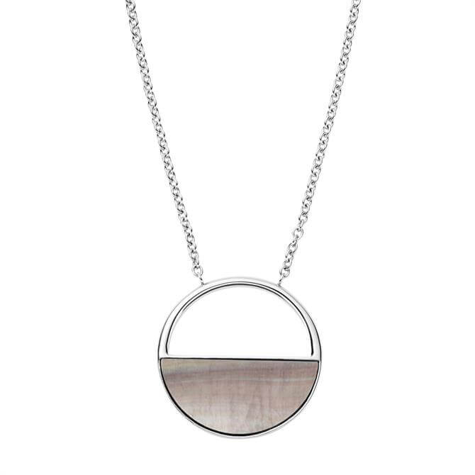 Skagen Agnethe Silver Tone and Mother of Pearl Short Pendant Necklace