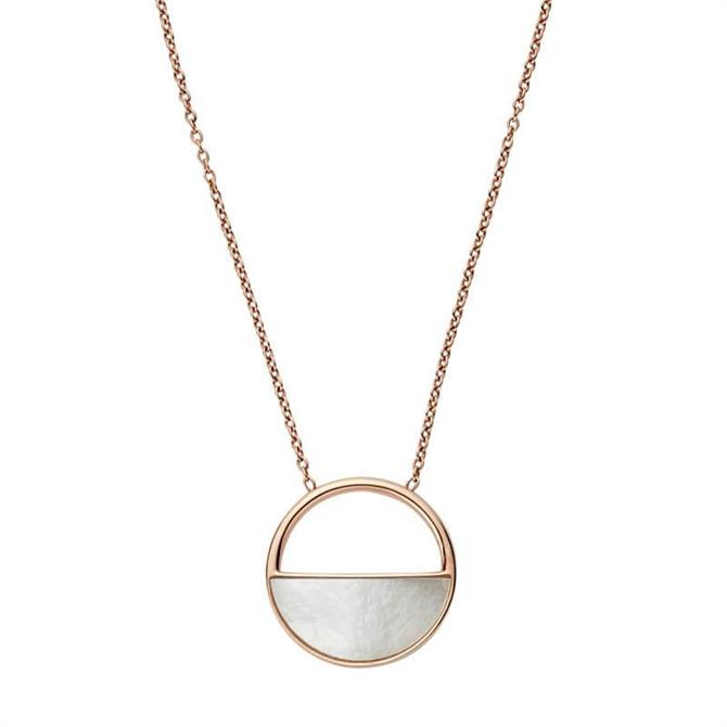 Skagen Elin Rose Gold Tone & Mother of Pearl Short Pendant Necklace