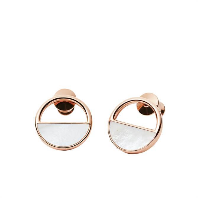 Skagen Elin Rose Gold Tone & Mother of Pearl Stud Earrings