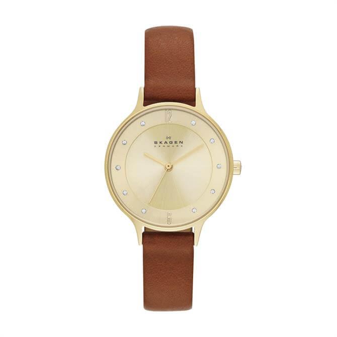 Skagen Anita Brown Leather Watch