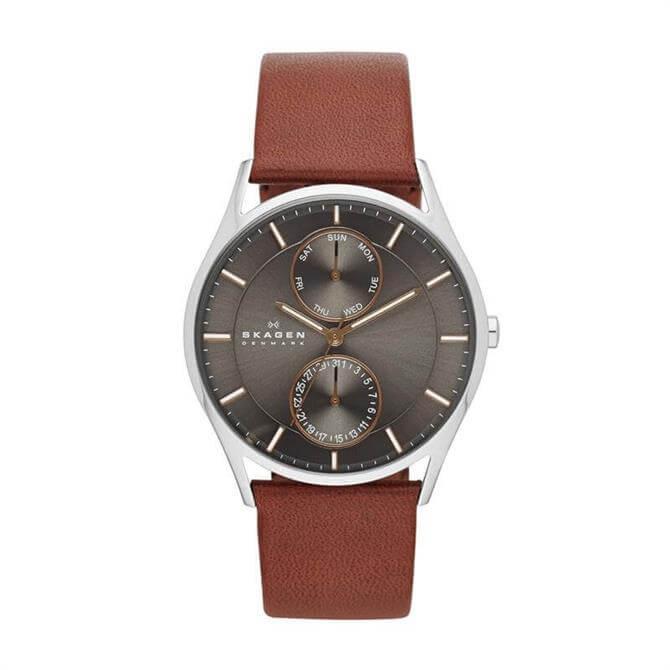 Skagen Holst Brown Leather Multifunction Watch