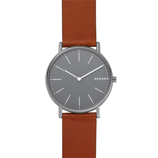 Skagen Signatur Slim Titanium & Cognac Leather Watch