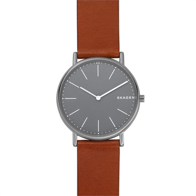 Skagen Signatur Slim Titanium & Cognac Leather Watch