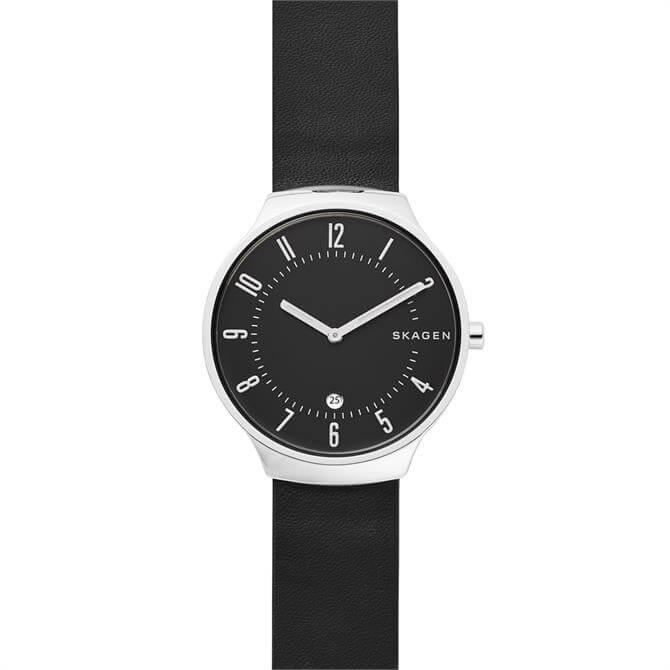 Skagen Grenen Slim Black Leather Watch