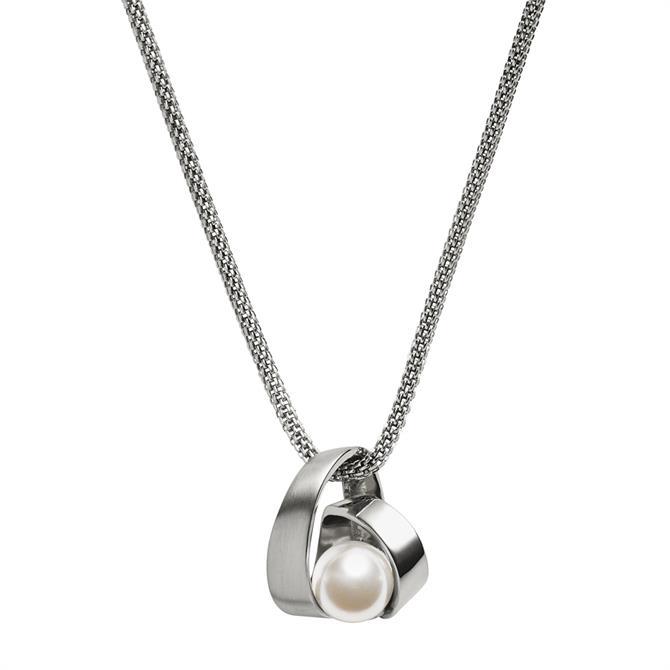 Skagen Agnethe Pearl Silver Tone Pendant Necklace