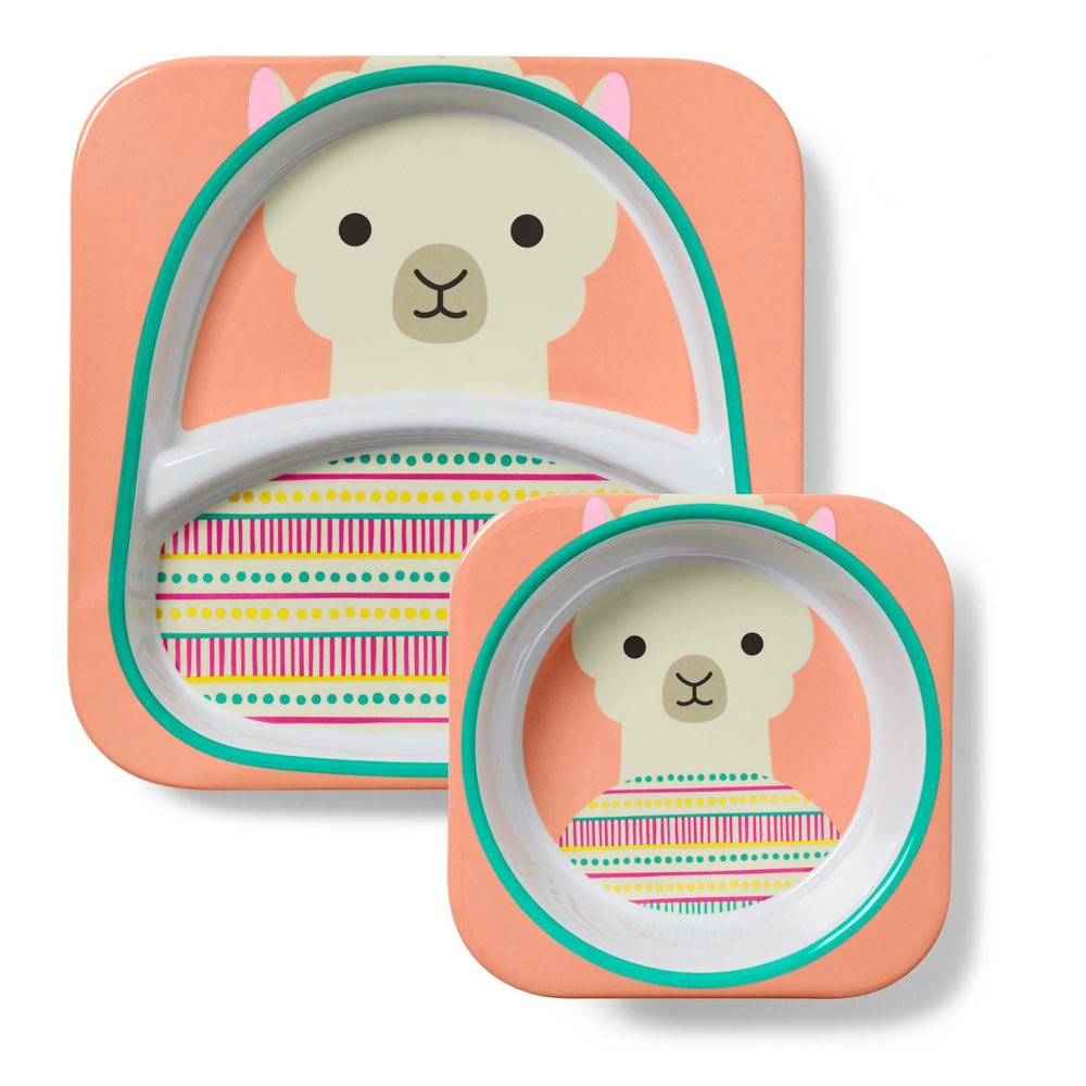An image of Skip Hop Zoo Melamine Plate & Bowl Set Llama