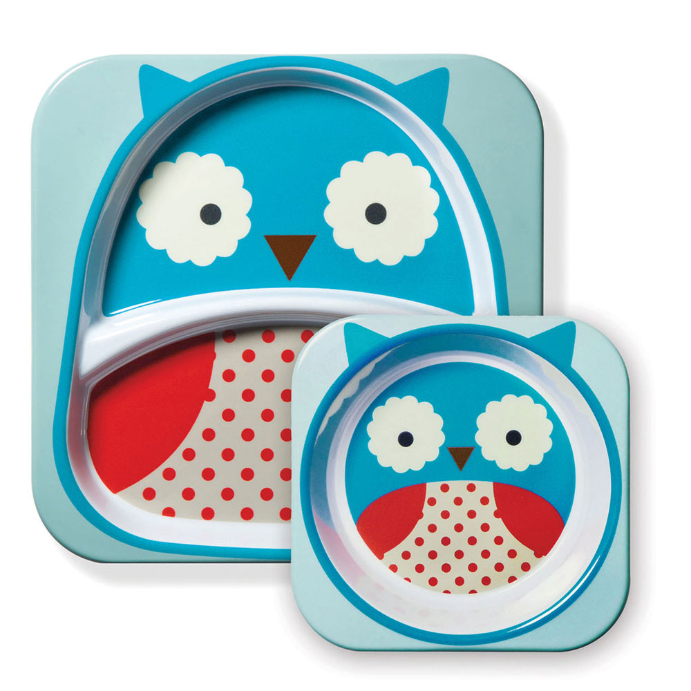 An image of Skip Hop Zoo Owl Plate & Bowl Set