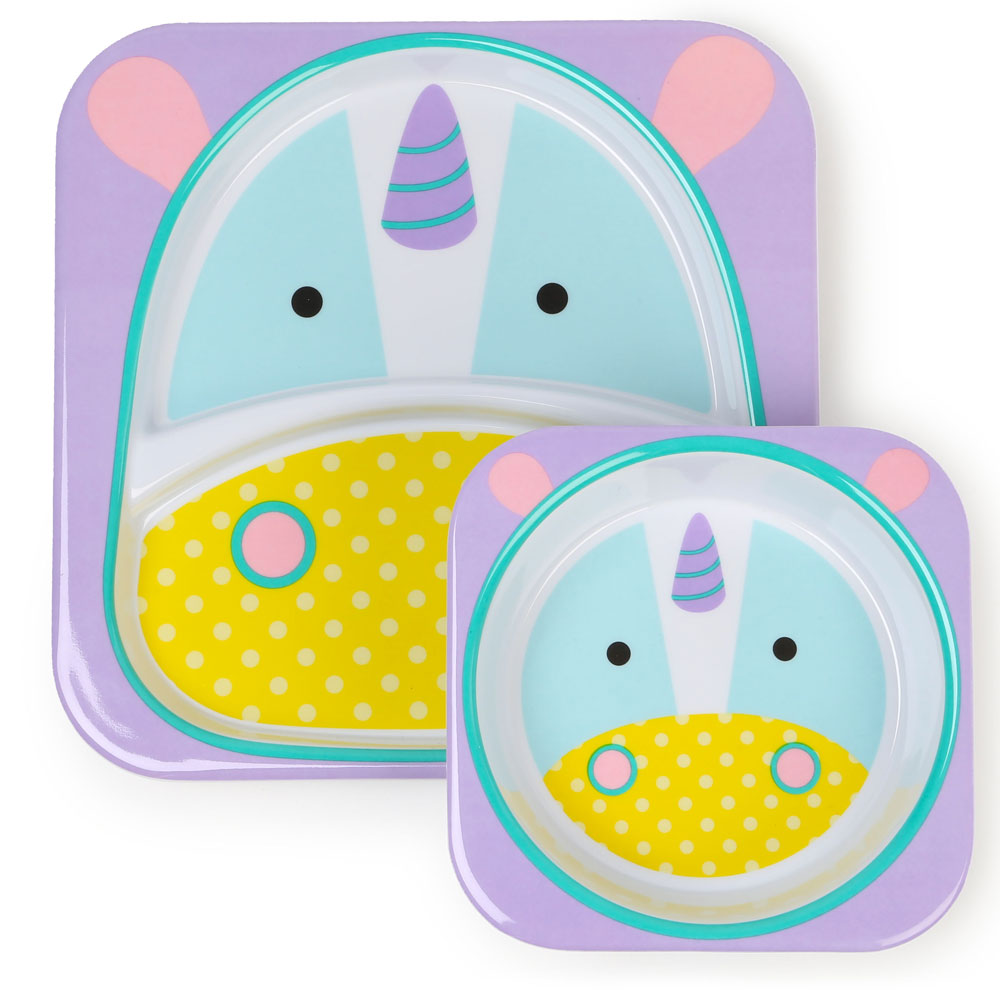 An image of Skip Hop Zoo Unicorn Plate & Bowl Set