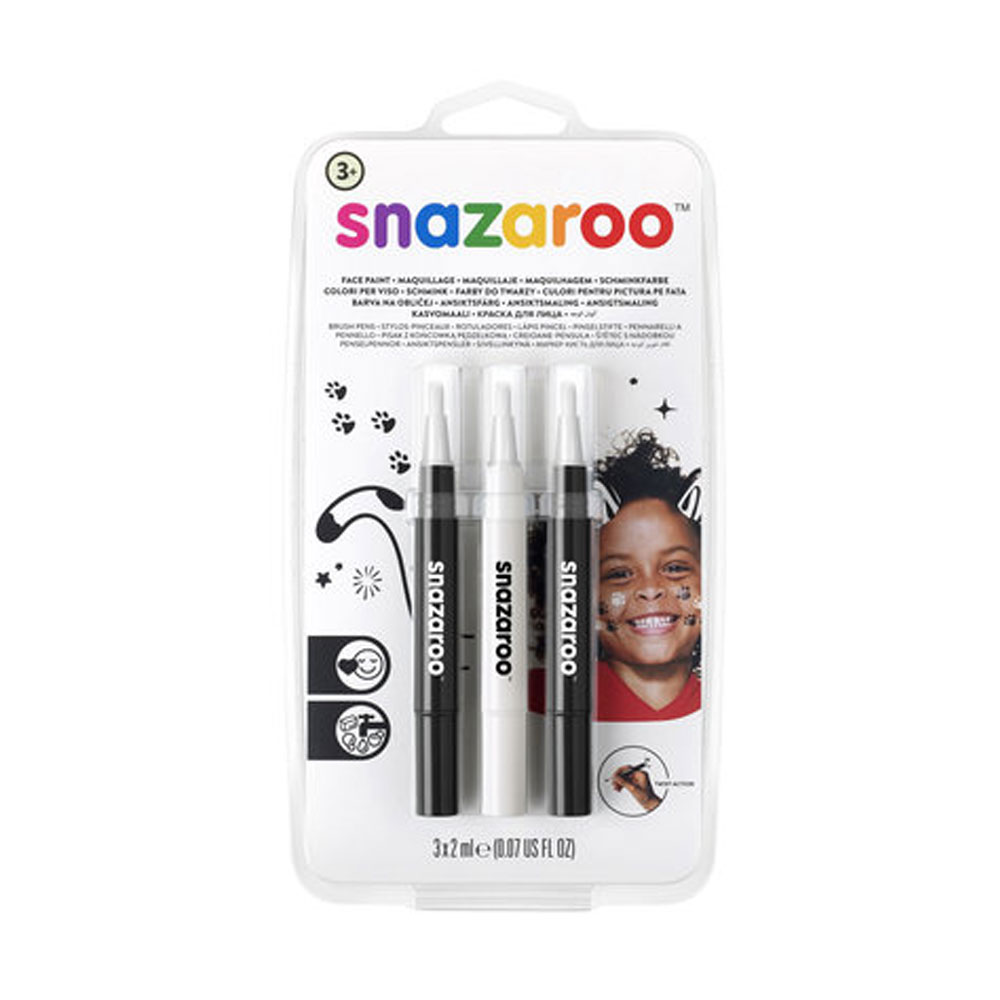 An image of Snazaroo Brush Pen Monochrome Face Painting Pack