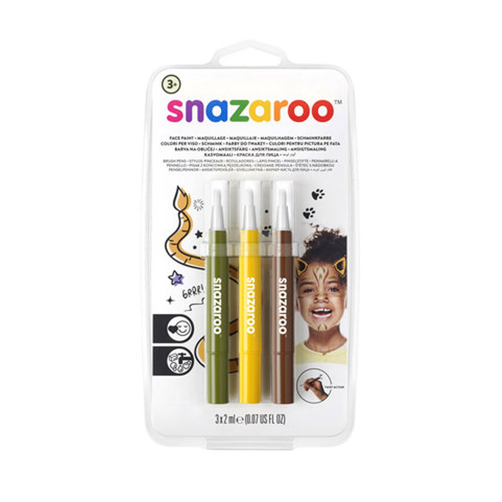 An image of Snazaroo Brush Pen Jungle Face Painting Pack