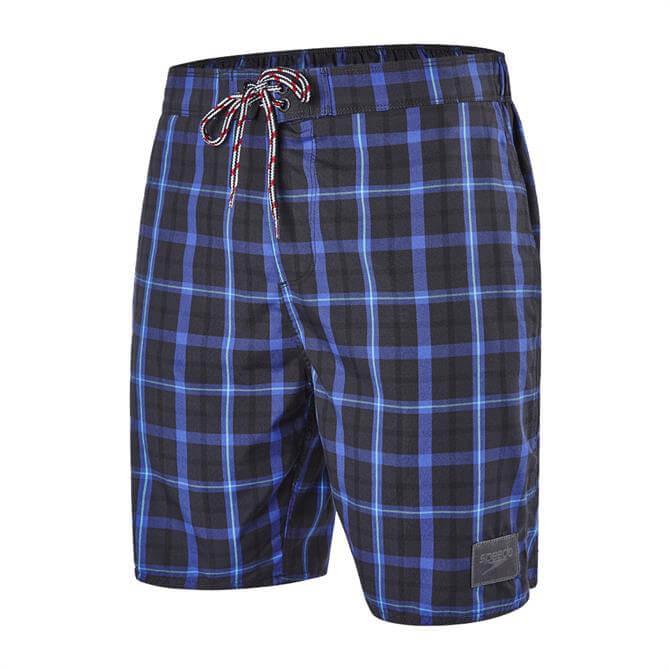 Speedo Men's Check Leisure 18inch Swim Shorts- Grey Blue