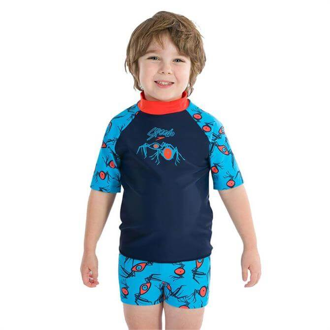 Speedo Junior Loco Burst Essential Suntop- Navy/Orange