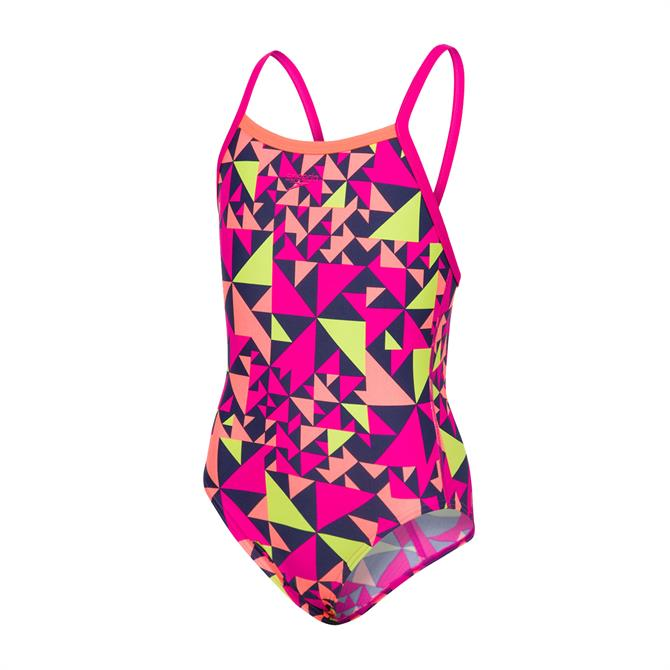 Speedo Junior Girls Fluotime Allover Thinstrap Crossback Swimsuit