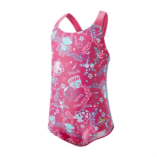 Speedo Junior Girls Seasqaud All Over 1 Piece Swimsuit- Pink
